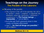 teachings on the journey the parable of the laborers25