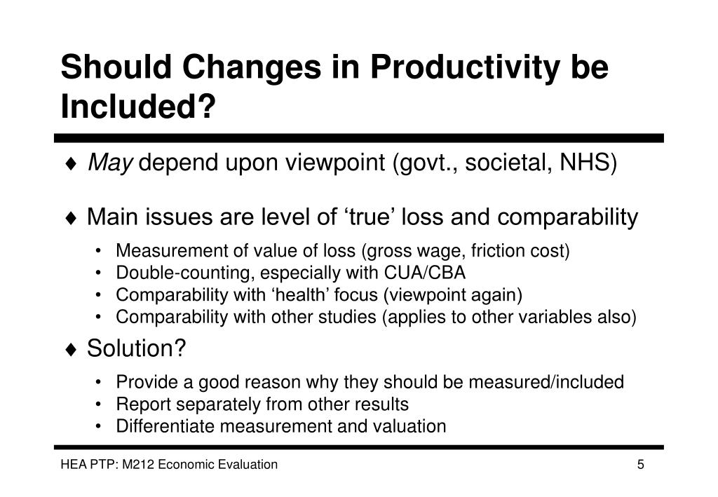 Should Changes in Productivity be Included?