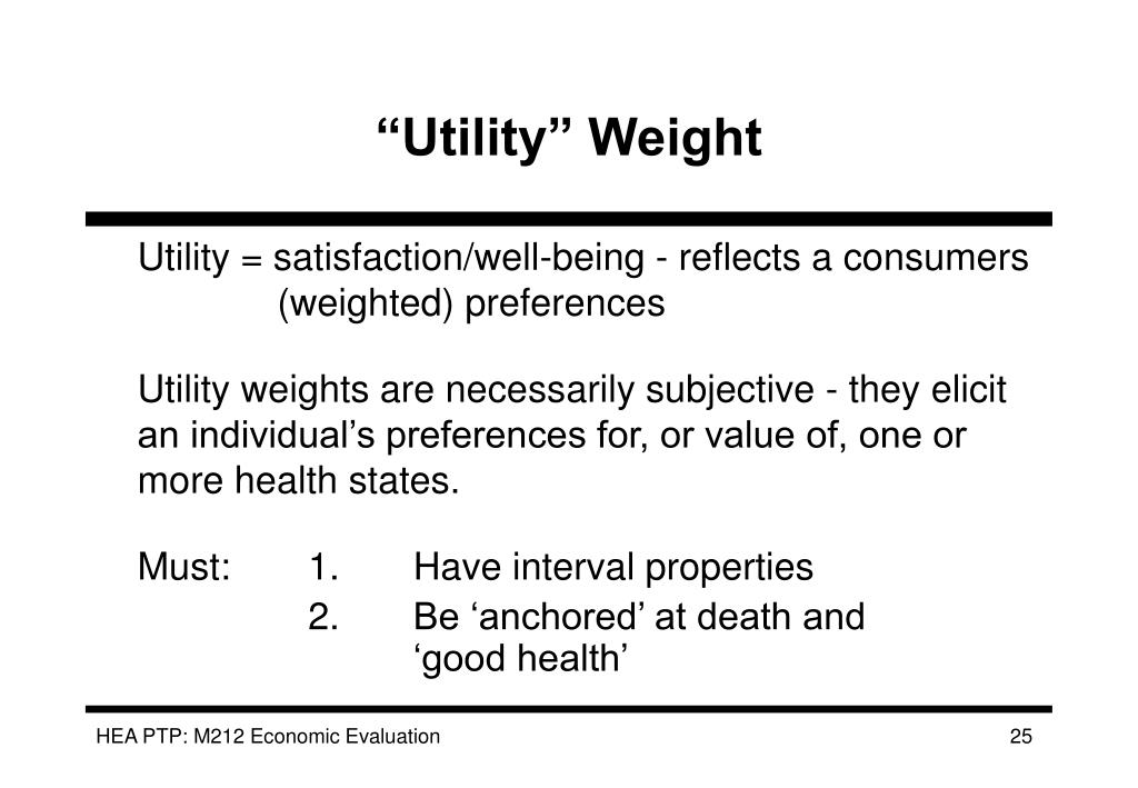"""""""Utility"""" Weight"""