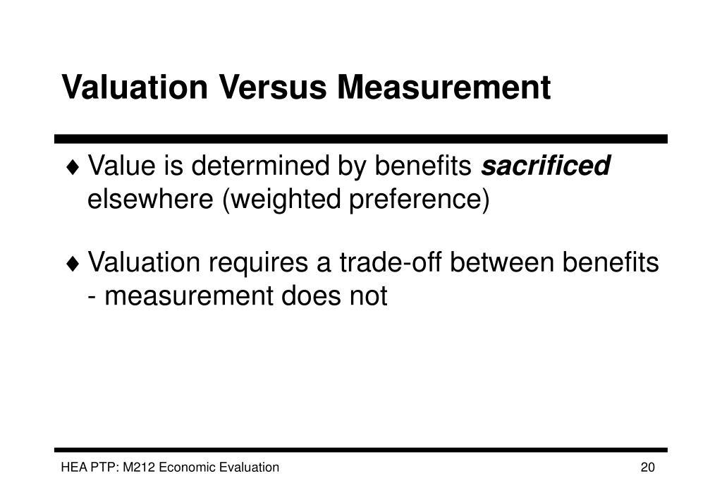 Valuation Versus Measurement