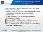 benefits to resellers using promark s gsa schedule