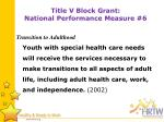 title v block grant national performance measure 6