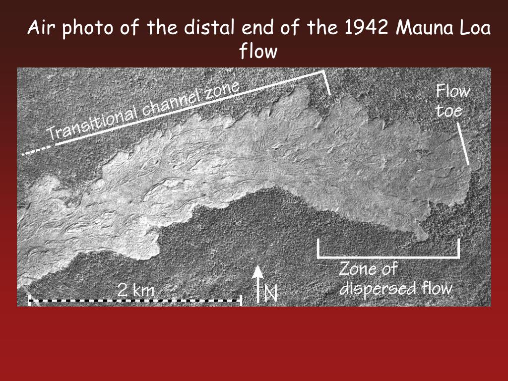 Air photo of the distal end of the 1942 Mauna Loa flow