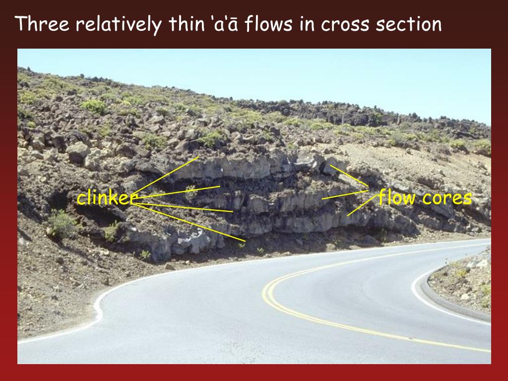 Three relatively thin 'a'ā flows in cross section
