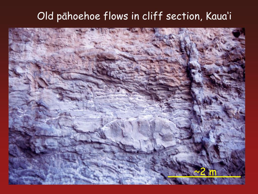 Old pāhoehoe flows in cliff section, Kaua'i