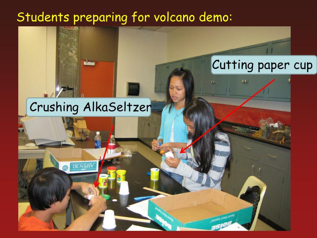 Students preparing for volcano demo: