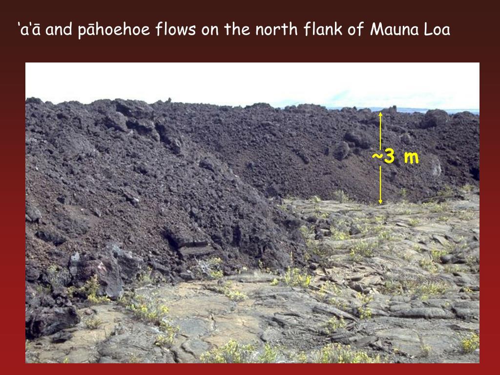 'a'ā and pāhoehoe flows on the north flank of Mauna Loa