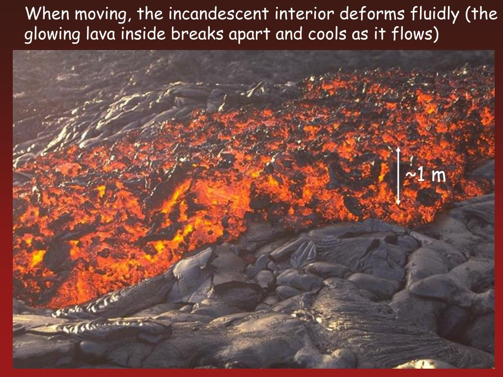 When moving, the incandescent interior deforms fluidly (the glowing lava inside breaks apart and cools as it flows)