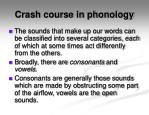 crash course in phonology