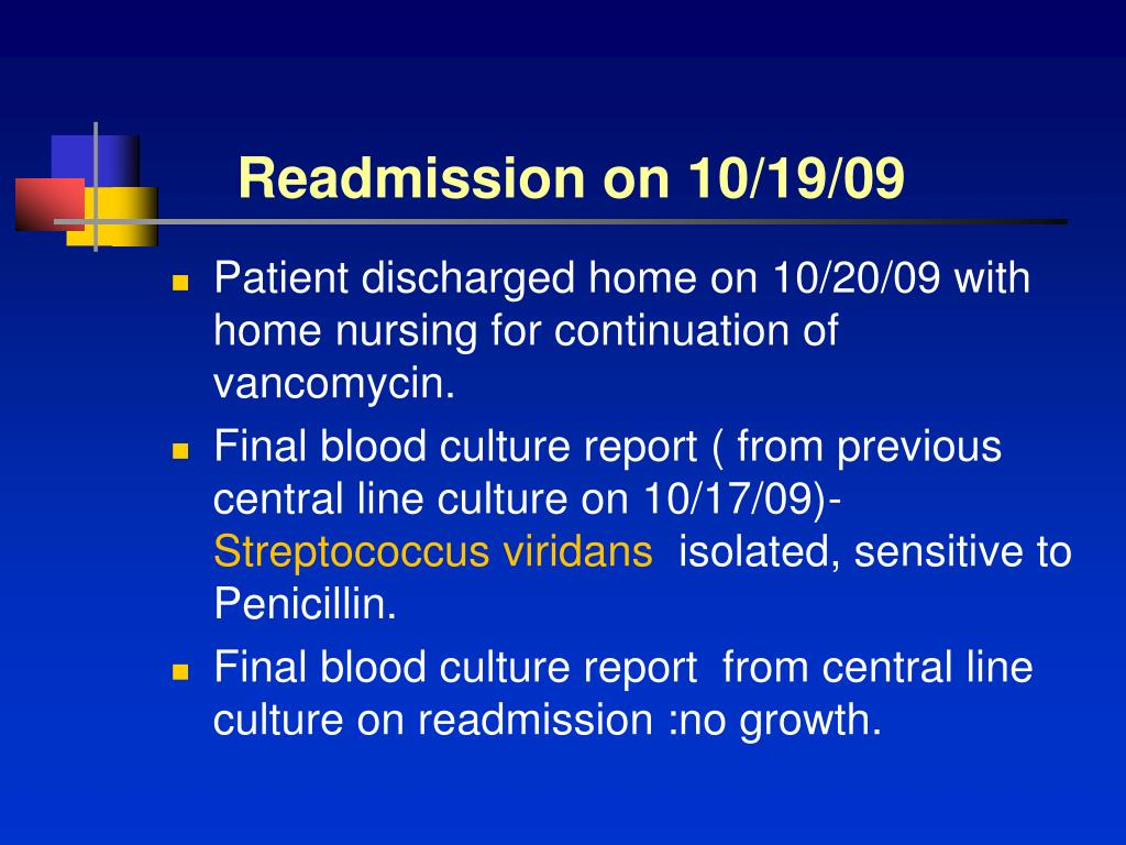 Readmission on 10/19/09