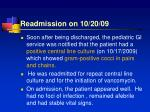 readmission on 10 20 09