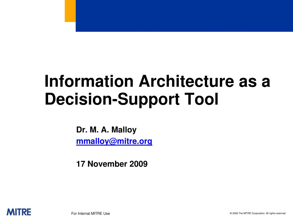 information architecture as a decision support tool l.