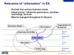 relevance of information in ea