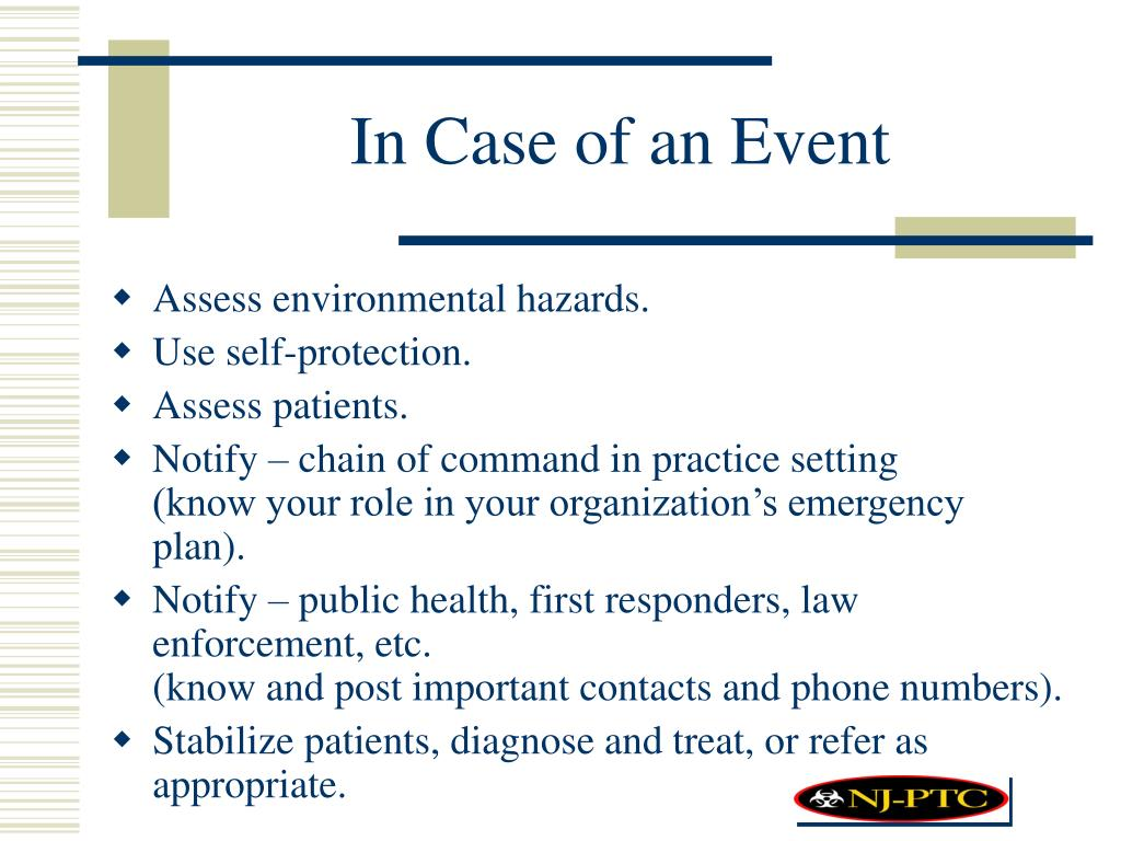 In Case of an Event