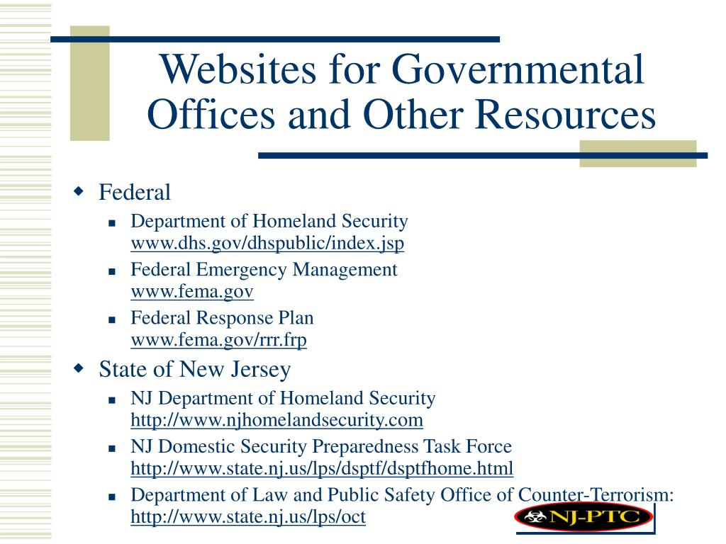 Websites for Governmental Offices and Other Resources