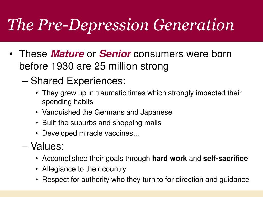 The Pre-Depression Generation