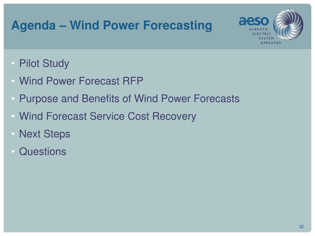 Agenda – Wind Power Forecasting