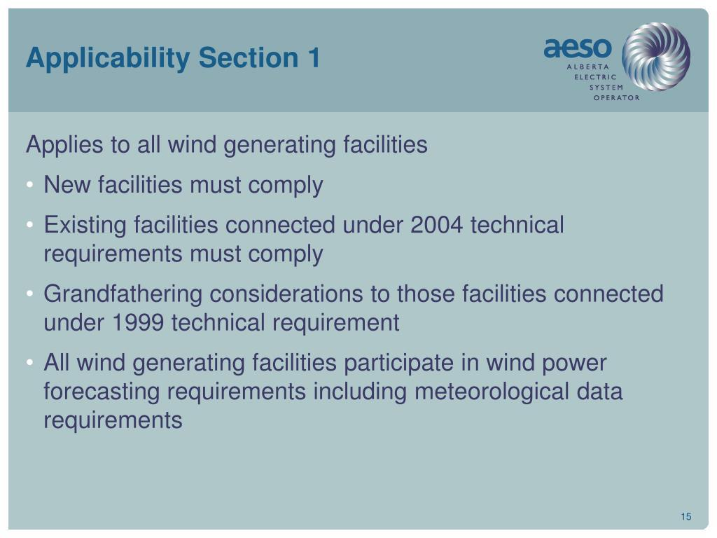Applicability Section 1
