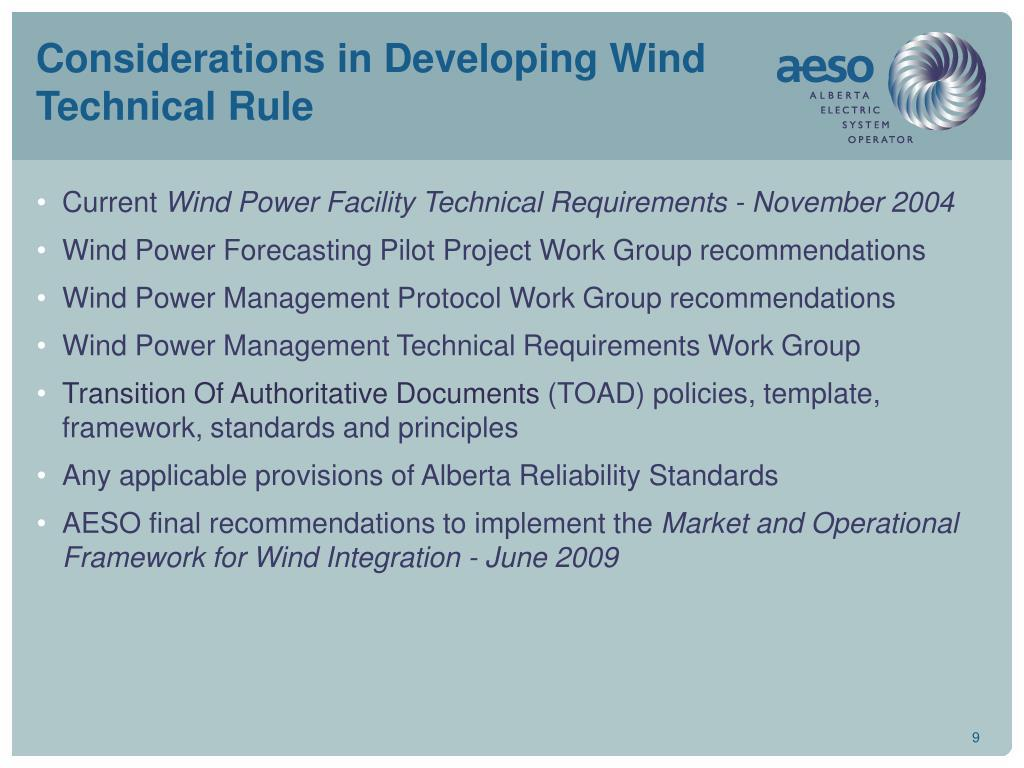 Considerations in Developing Wind Technical Rule