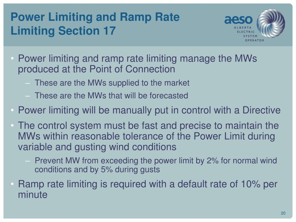 Power Limiting and Ramp Rate Limiting Section 17