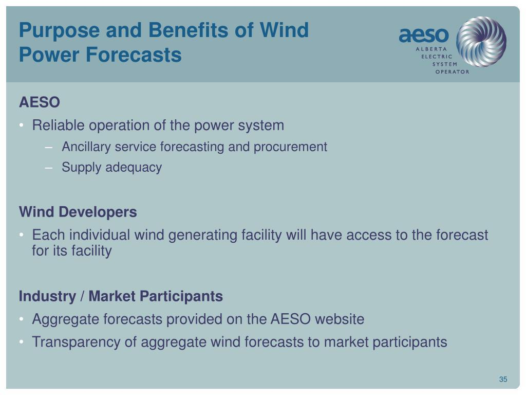 Purpose and Benefits of Wind Power Forecasts