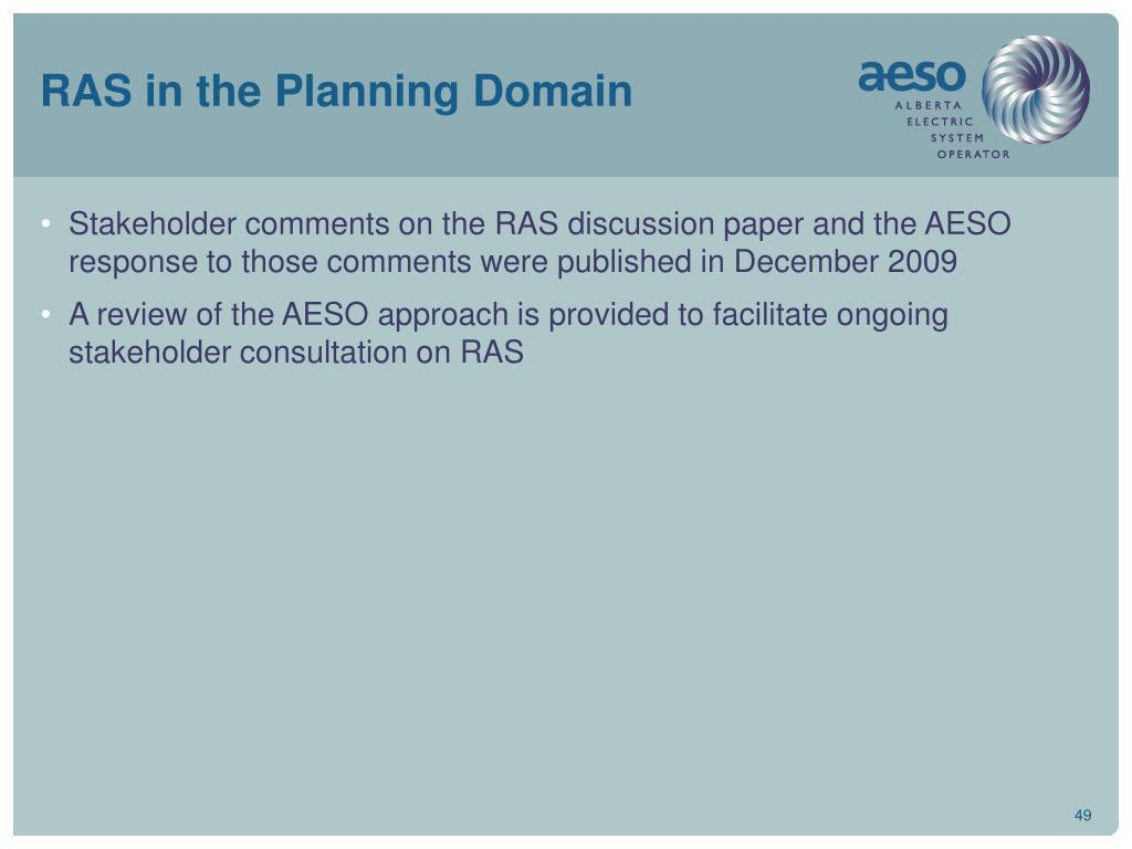 RAS in the Planning Domain