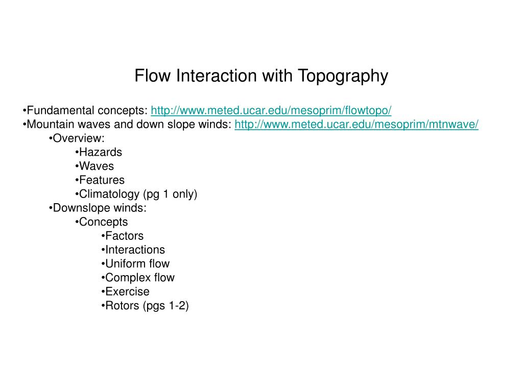 flow interaction with topography l.