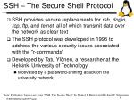 ssh the secure shell protocol