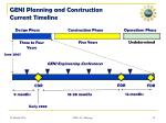 geni planning and construction current timeline