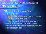 basic gsm network consist of ms bss nss