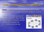 over 20 000 000 orders shipped