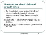 some terms about dividend growth rates