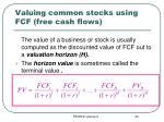 valuing common stocks using fcf free cash flows