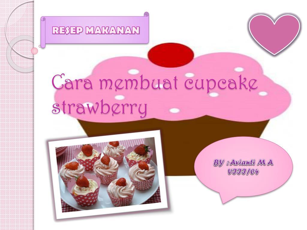 cara membuat cupcake strawberry l.