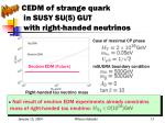 cedm of strange quark in susy su 5 gut with right handed neutrinos