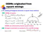 cedms originated from squark mixings