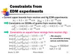 constraints from edm experiments