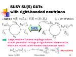 susy su 5 guts with right handed neutrinos