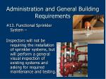 administration and general building requirements65