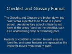 checklist and glossary format