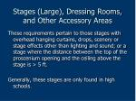 stages large dressing rooms and other accessory areas