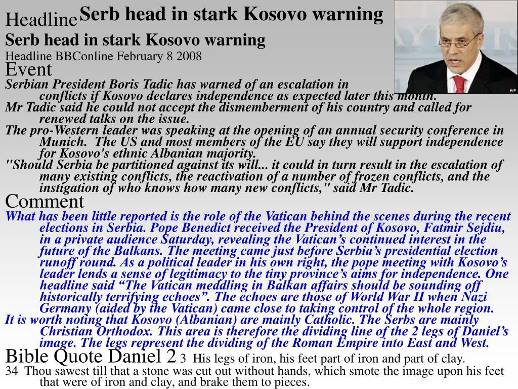 Serb head in stark Kosovo warning