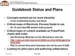 guidebook status and plans