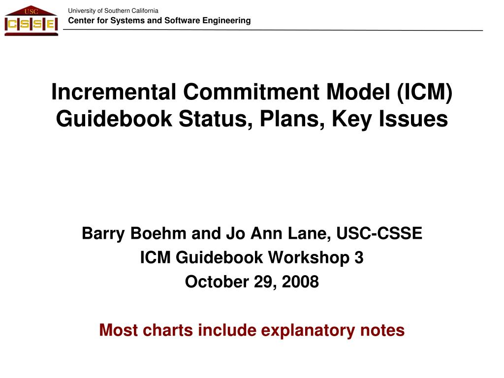 incremental commitment model icm guidebook status plans key issues l.