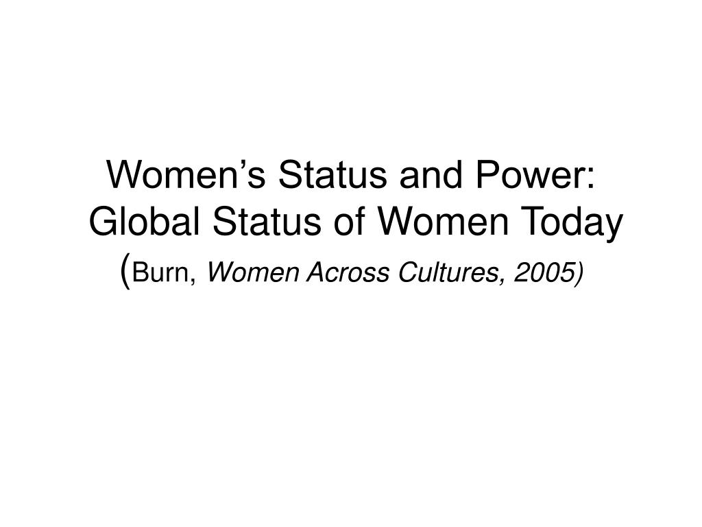 women s status and power global status of women today burn women across cultures 2005 l.
