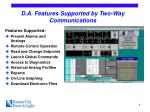 d a features supported by two way communications