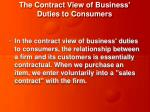 the contract view of business duties to consumers
