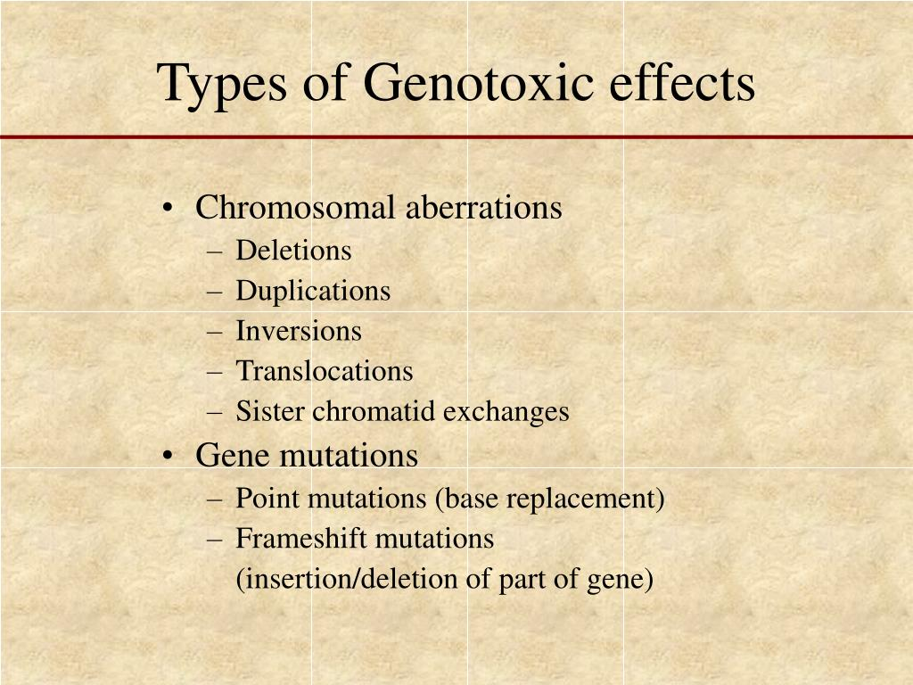 Types of Genotoxic effects