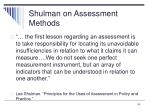shulman on assessment methods