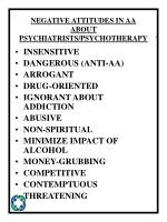 negative attitudes in aa about psychiatrists psychotherapy